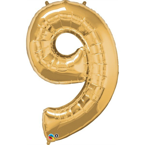 Qualatex 34 Inch Number Balloon - Nine Metallic Gold