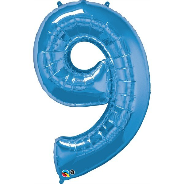 Qualatex 34 Inch Number Balloon - Nine Sapphire Blue