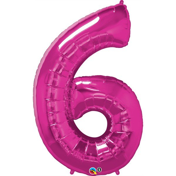 Qualatex 34 Inch Number Balloon - Six Magenta