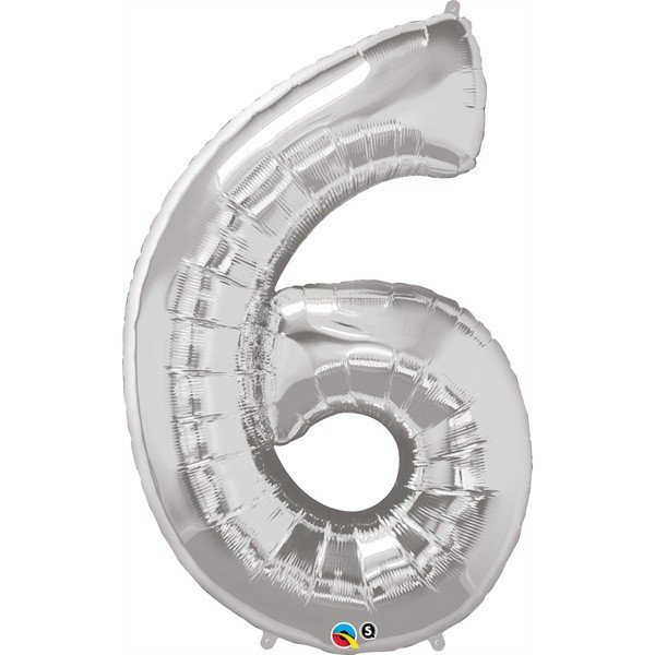 Qualatex 34 Inch Number Balloon - Six Silver