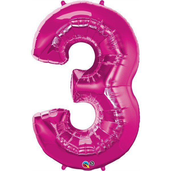 Qualatex 34 Inch Number Balloon - Three Magenta