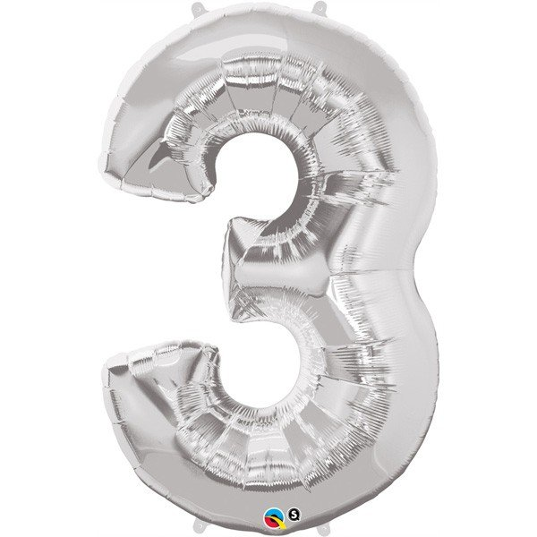 Qualatex 34 Inch Number Balloon - Three Silver