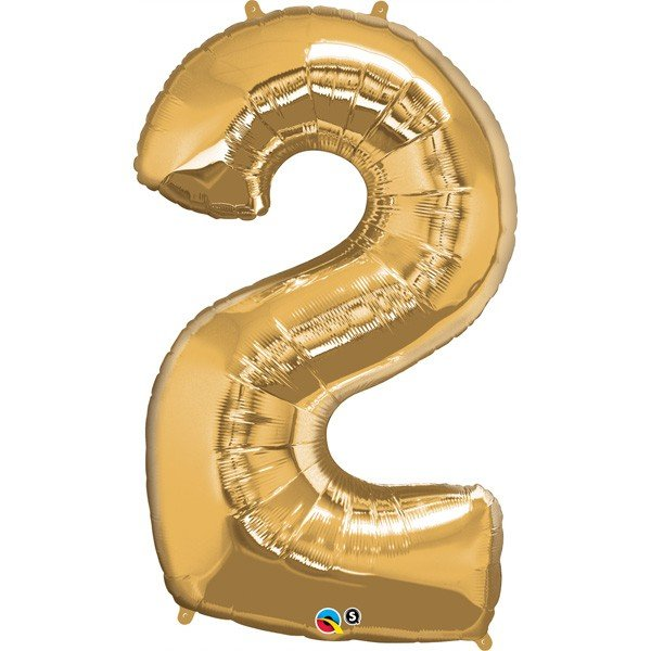 Qualatex 34 Inch Number Balloon - Two Metallic Gold