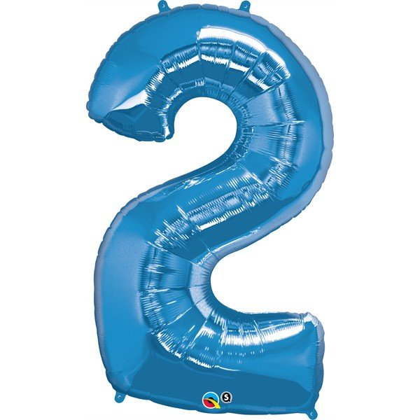 Qualatex 34 Inch Number Balloon - Two Sapphire Blue