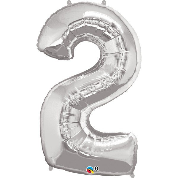 Qualatex 34 Inch Number Balloon - Two Silver
