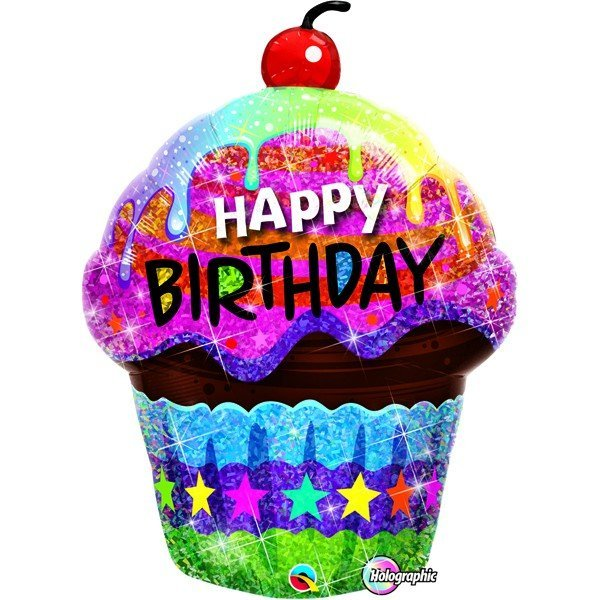 Qualatex 35 Inch Shaped Foil Balloon - Birthday Dazzling Cupcake
