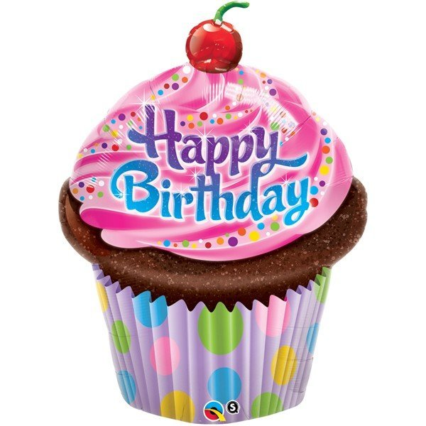 Qualatex 35 Inch Shaped Foil Balloon - Birthday Frosted Cupcake
