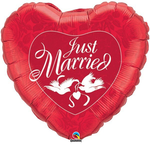Qualatex 36 Inch Heart Foil Balloon - Just Married Red & White