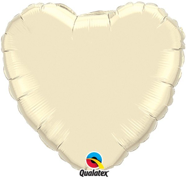 Qualatex 36 Inch Heart Plain Foil Balloon - Pearl Ivory