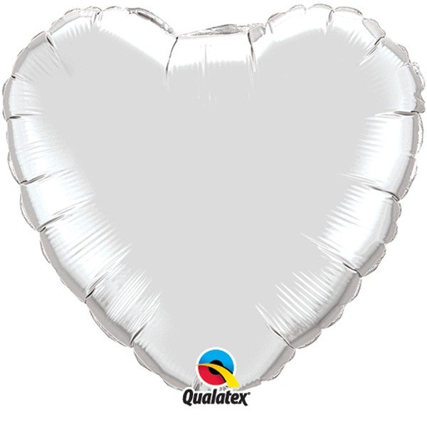 Qualatex 36 Inch Heart Plain Foil Balloon - Silver