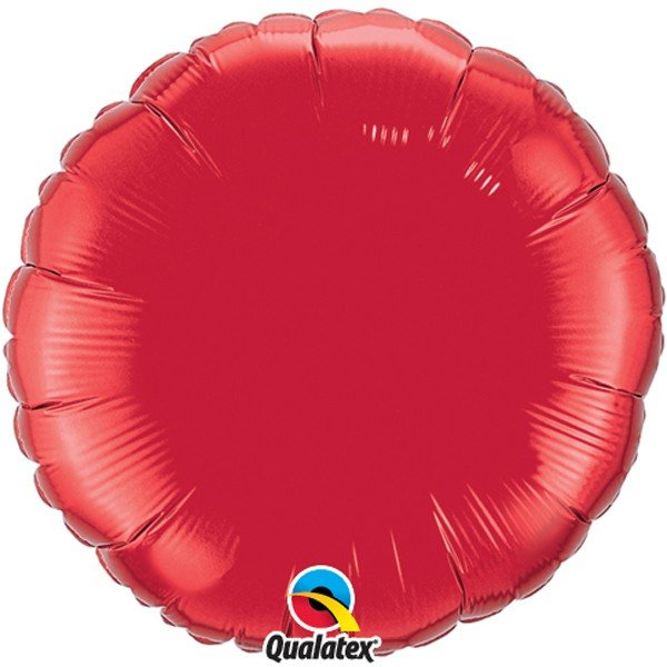 Qualatex 36 Inch Round Plain Foil Balloon - Ruby Red