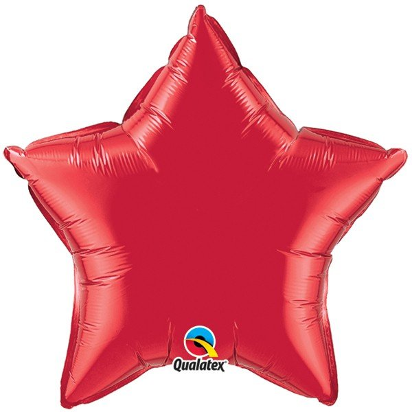 Qualatex 36 Inch Star Plain Foil Balloon - Ruby Red