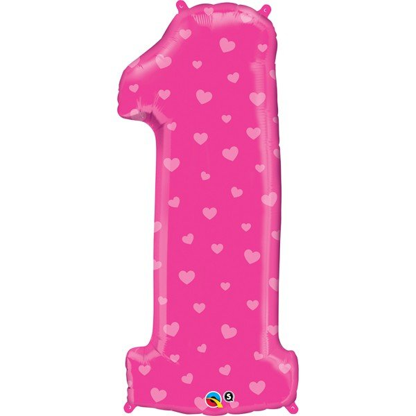 Qualatex 38 Inch Shaped Foil Balloon - Number One Pink Hearts