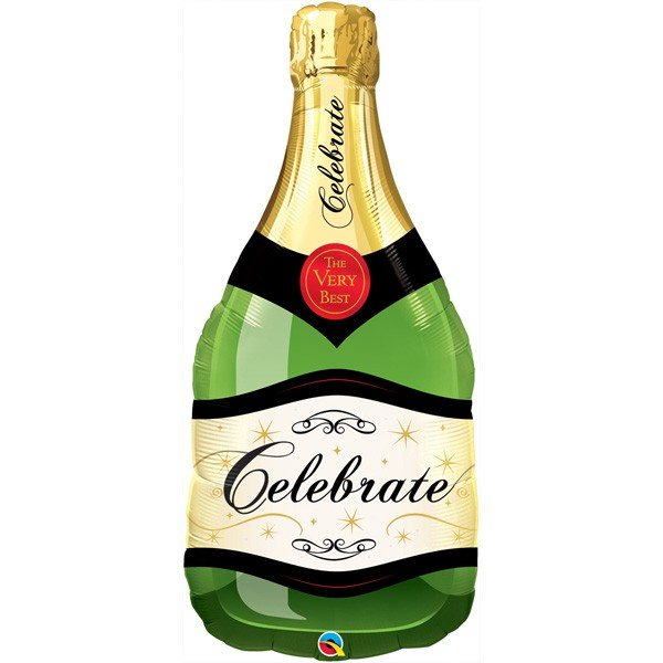 Qualatex 39 Inch Shaped Foil Balloon - Celebrate Bubbly Wine