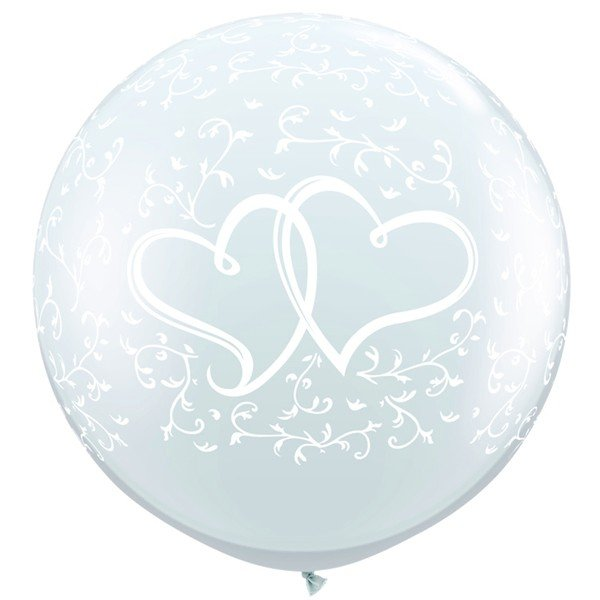 Qualatex 3 Foot Clear Latex Balloon - Entwined Hearts