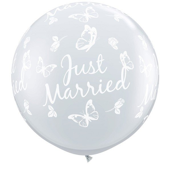 Qualatex 3 Foot Clear Latex Balloon - Just Married Butterflies