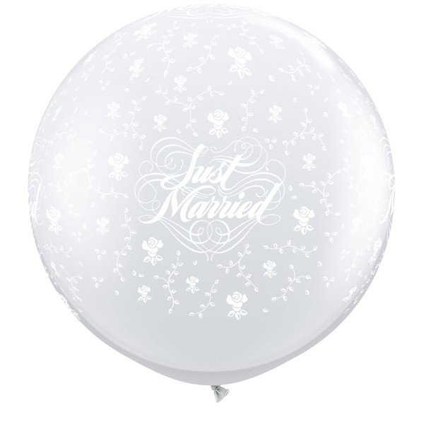 Qualatex 3 Foot Clear Latex Balloon - Just Married Flowers