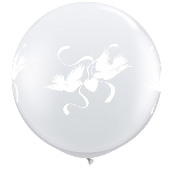 Qualatex 3 Foot Clear Latex Balloon - Love Doves