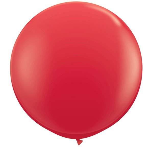 Qualatex 3 Ft Round Plain Latex Balloon - Red