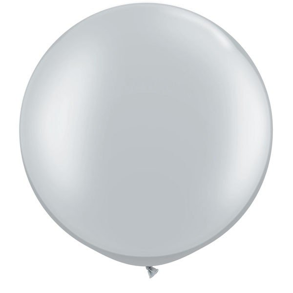 Qualatex 3 Ft Round Plain Latex Balloon - Silver