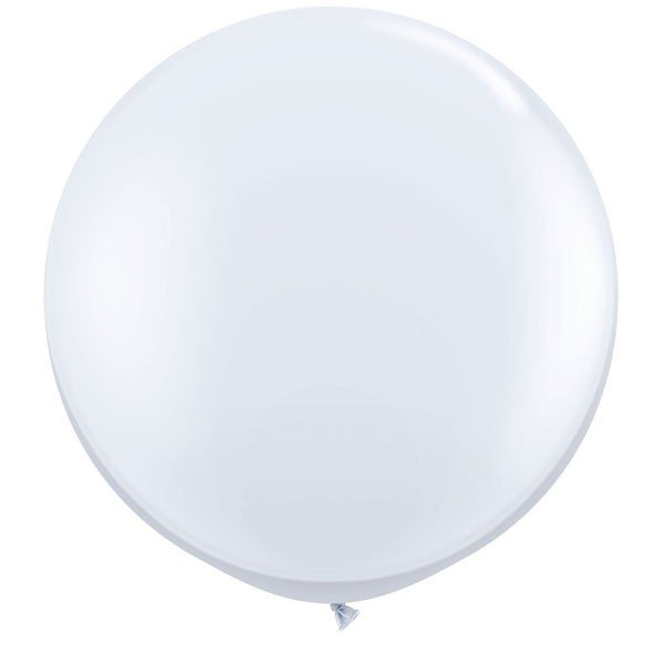 Qualatex 3 Ft Round Plain Latex Balloon - White
