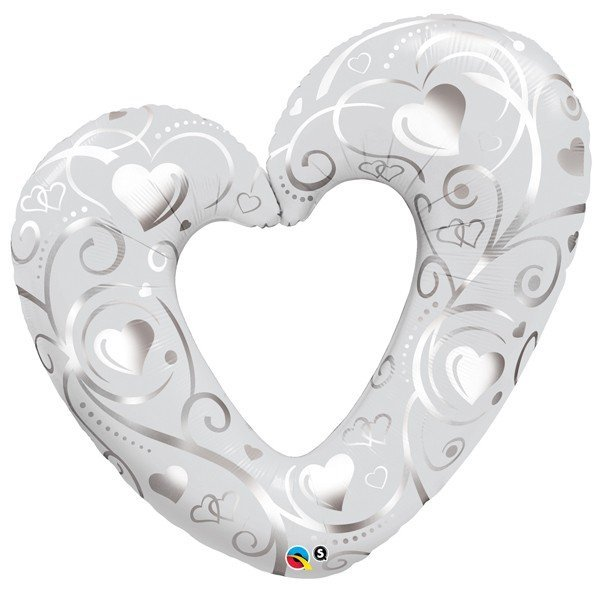 Qualatex 42 Inch Shaped Foil Balloon - Hearts & Filigree Pearl White