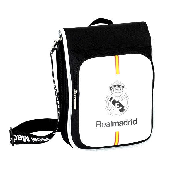 Real Madrid Black Flap Shoulder Bag - 24Cms
