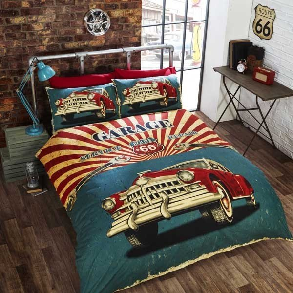 Retro Garage Double Reversible Duvet Set