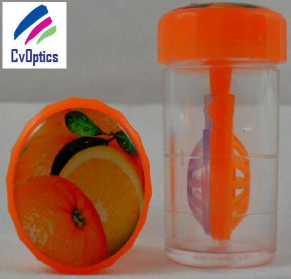 Orange Fruit Contact Lens Storage Soaking Barrel Case