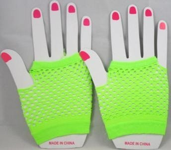 Short Neon Fishnet Fingerless Gloves one size - Green