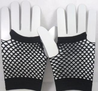 Short Neon Fishnet Fingerless Gloves one size - Black