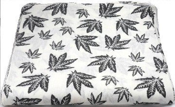 White Cannabis Marijuana Leaf Bandana Head Scarf