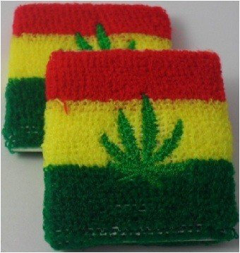 Rasta Design with Marijuana Leaf Sweatband / Armband