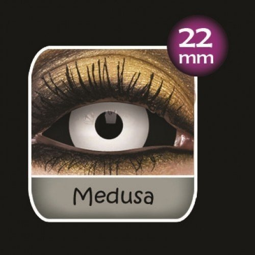 Medusa Black and White Sclera Full Eye Contact Lenses 22mm (6 Month)
