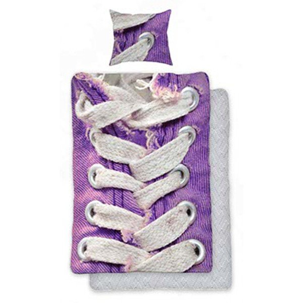 Shoelaces Purple Single Duvet