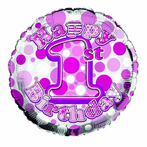 Simon Elvin 18 Inch Foil Balloon - 1st Birthday Girl