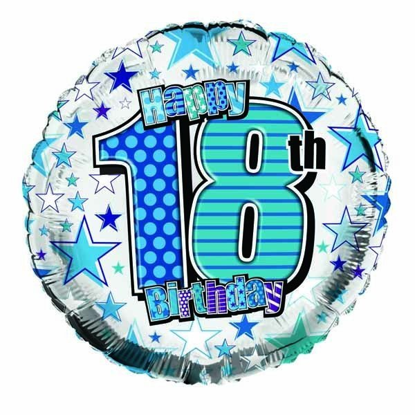 Simon Elvin 18 Inch Foil Balloon - Birthday 18th Blue
