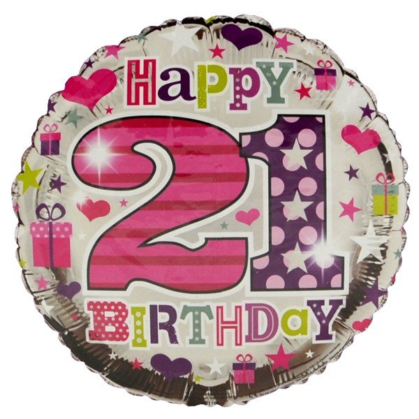 Simon Elvin 18 Inch Foil Balloon - Birthday 21st Female