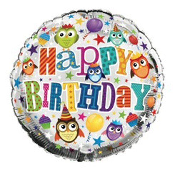 Simon Elvin 18 Inch Foil Balloon - Birthday Owls