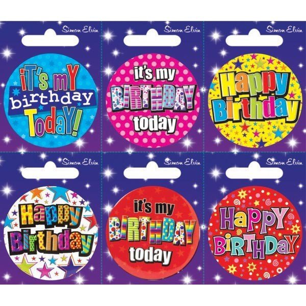 Simon Elvin Small Badge - Birthday