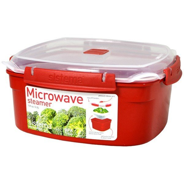 Sistema Large Microwave Steamer - Red