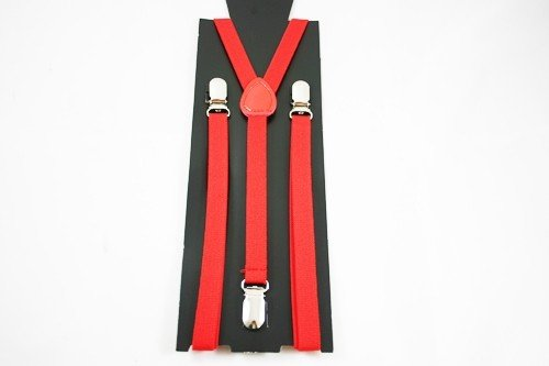 Unisex Plain Red 15mm  Fashion Braces