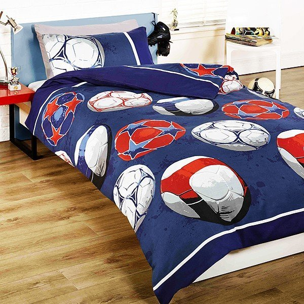 Soccer Football Single Duvet Set - Blue