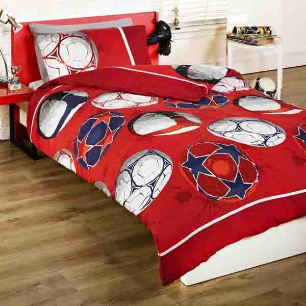 Soccer Football Single Duvet Set - Red
