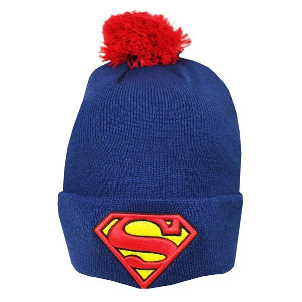 Superman Bobble Cuff Knitted Hat - Adult