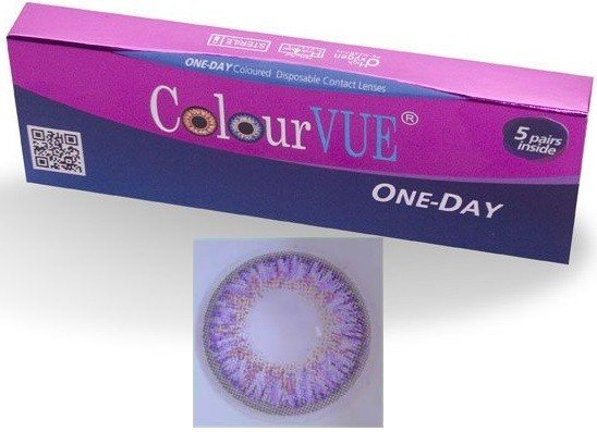 5 Pairs Of Daily Wear TruBlends Violet Coloured Contact Lenses