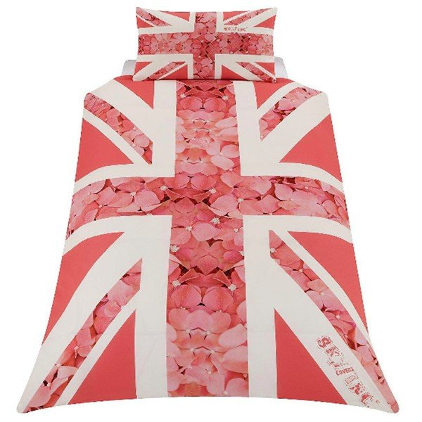 Union Jack Flower Single Duvet - Pink