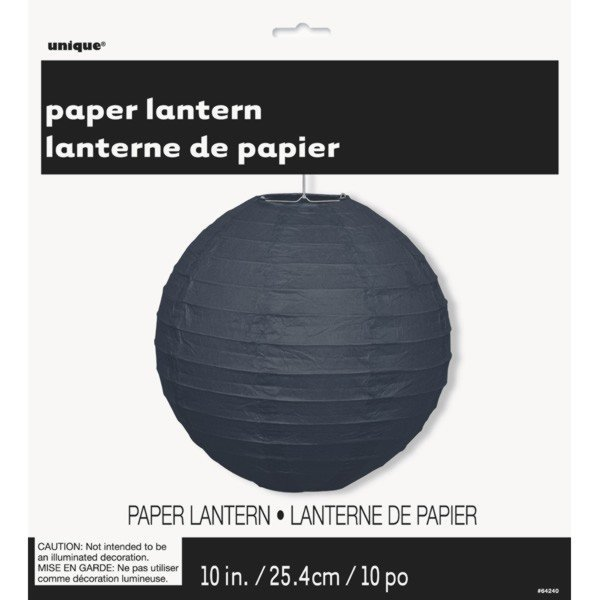 Unique Party 10 Inch Paper Lanterns - Black