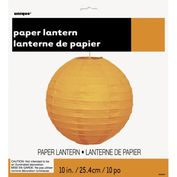 Unique Party 10 Inch Paper Lanterns - Orange