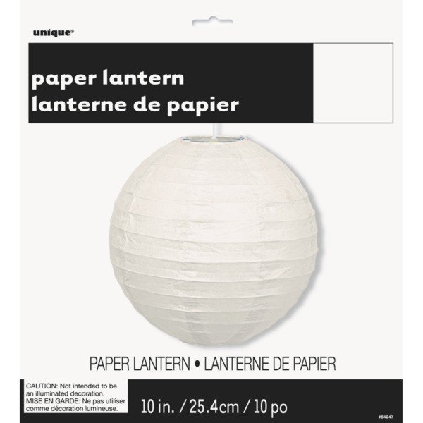 Unique Party 10 Inch Paper Lanterns - White
